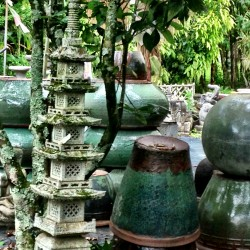 stone pagoda and ceramic pots