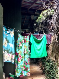Hanging laundry to dry