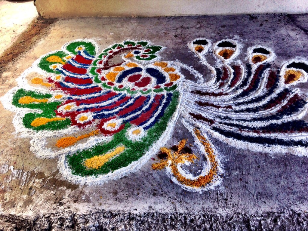 Rangoli design created by Pravina's daughter in the courtyard entry