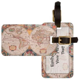 Vintage World Map From 1600 Bag Tag