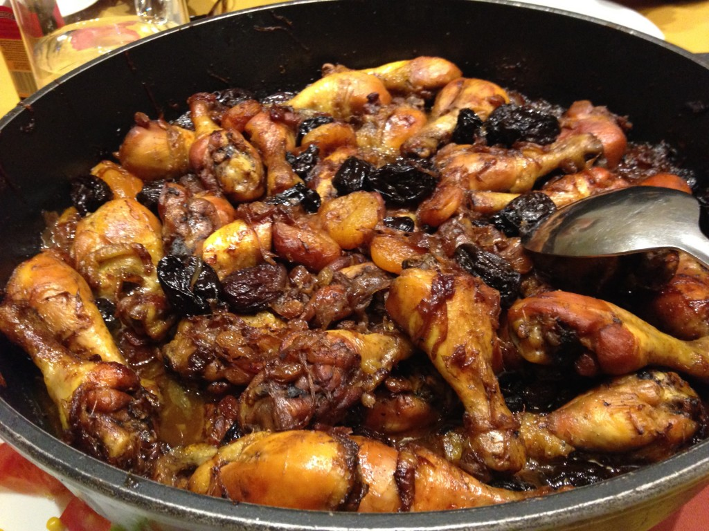Pan roasted chicken with prunes and apricots