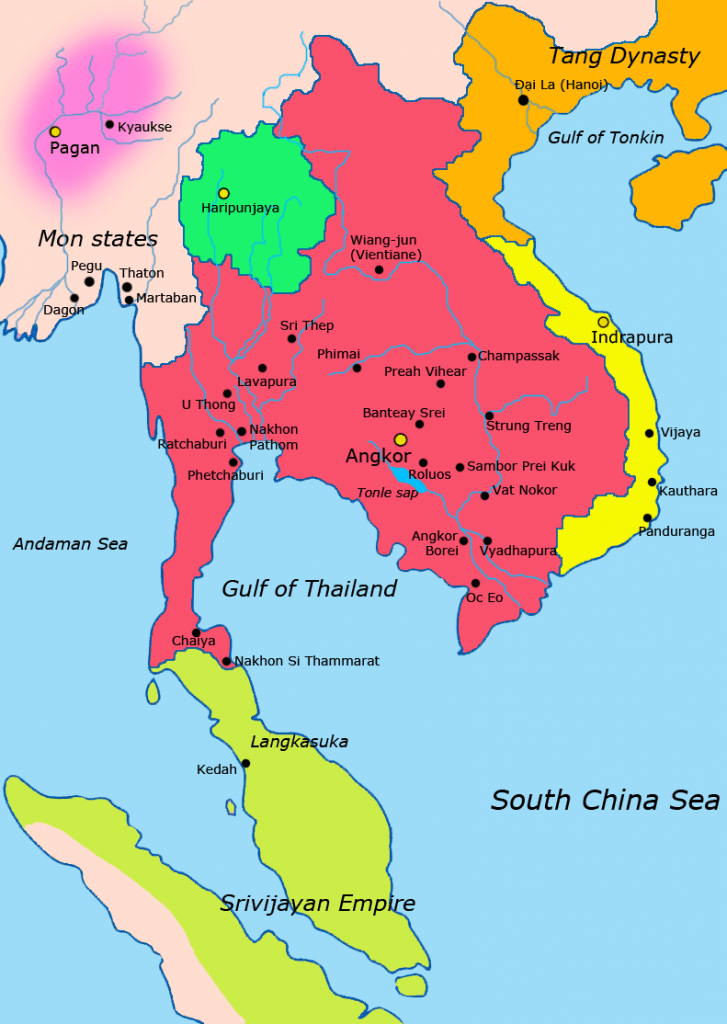 Map of Southeast Asia in about 900. Khmer Empire is shown in red.