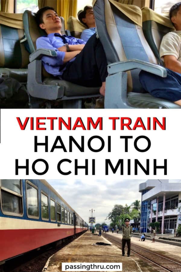 Vietnam by train Hanoi to Ho Chi Minh passengers and train cars