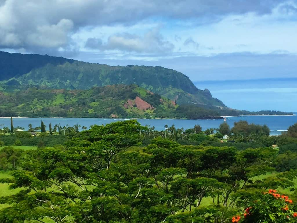 The neighborhood. Hanalei Bay on the North Shore.
