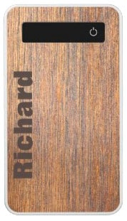 Brown Wood Grain Design Personalized Power Bank