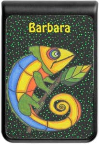 Colorful Lizard Yellow Head Curled Tail on Branch Power Bank