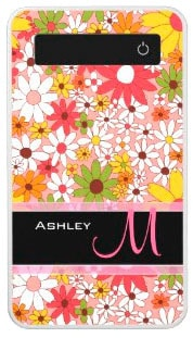 Classy Floral Monogrammed Power Bank