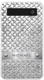 Personalized Diamond Cut Pattern Metal Plate 4000 mAh Power Bank