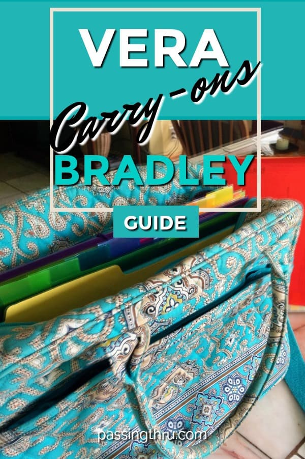Vera Bradley carry-on luggage is among the best we've used in years of full time travel #travel #carryon #luggage #verabradley #computerbag
